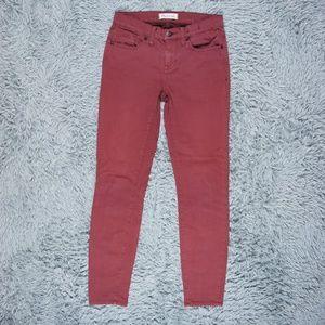 Madewell Skinny Skinny Burgundy Red Ankle Jeans